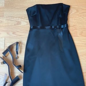 👗 LAUNDRY Silk Black Strapless Dress